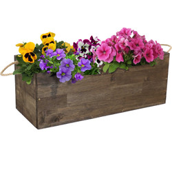 Sunnydaze Rectangle Indoor/Outdoor Acacia Wood Tray Planter with Handles