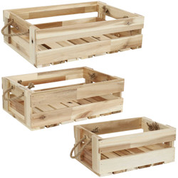 Sunnydaze Rectangle Acacia Wood Trays with Handles - Set of 3