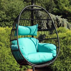 Sunnydaze Dalia Steel Hanging Egg Chair with Cushions, 45-Inch