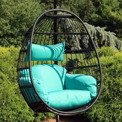 Sunnydaze Dalia Steel Hanging Egg Chair with Cushions, 45-Inch