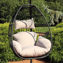 Sunnydaze Delaney Steel Hanging Egg Chair with Cushions, 50-Inch