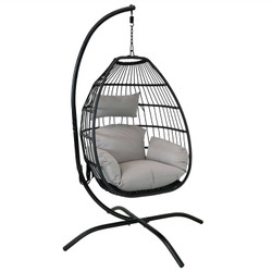 Delaney Steel Hanging Egg Chair with Cushions and Steel Stand