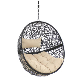 Jackson Hanging Egg Chair with Cushions, Cream