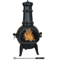 Sunnydaze Black Pot Belly Cast Iron Outdoor Chiminea