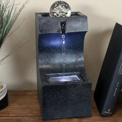 Sunnydaze Soothing Matrix Indoor Tabletop Water Fountain with LED Light - 12-Inch