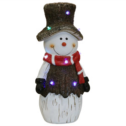 Sunnydaze Indoor Rustic Twinkling Snowman Statue with LED Lights