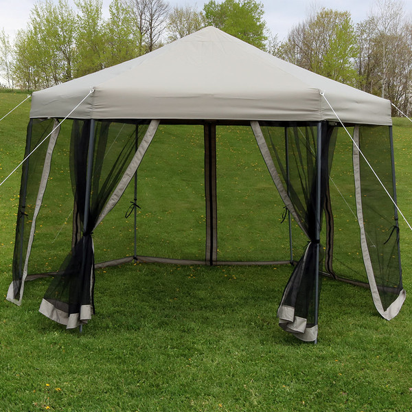 Sunnydaze Penthouse Quick-Up Instant Hexagon Canopy Gazebo