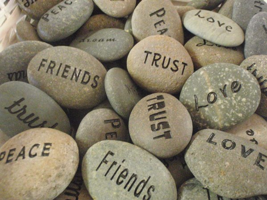 "Engraved 1-2"" Pocket Word Stones - Pack of 4"