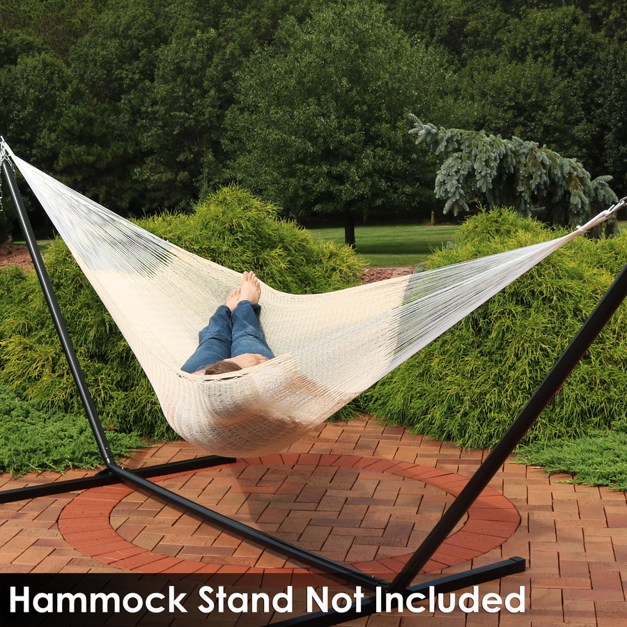 Sunnydaze Portable Hand-Woven 2 Person Mayan Hammock, Double Size, 440 Pound Capacity