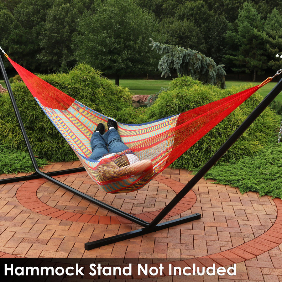 Sunnydaze Portable Hand-Woven 2 Person Multi-Color Mayan Hammock, Matrimonial Size, 550 Pound Capacity