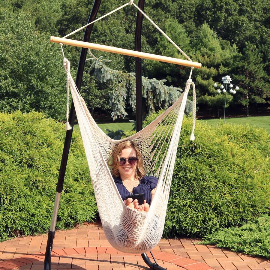 Sunnydaze Large Mayan Hammock Chair, Comfortable Hanging Swing Seat