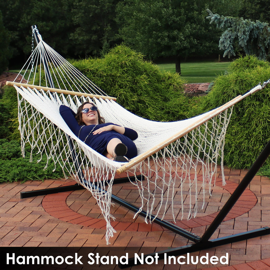 Sunnydaze American Style Handwoven Mayan Single Person Hammock with Spreader Bars