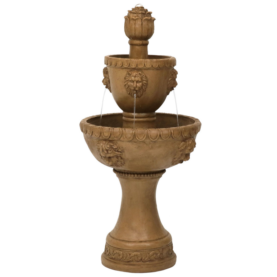 2-Tier Contemporary Lion Outdoor Water Fountain