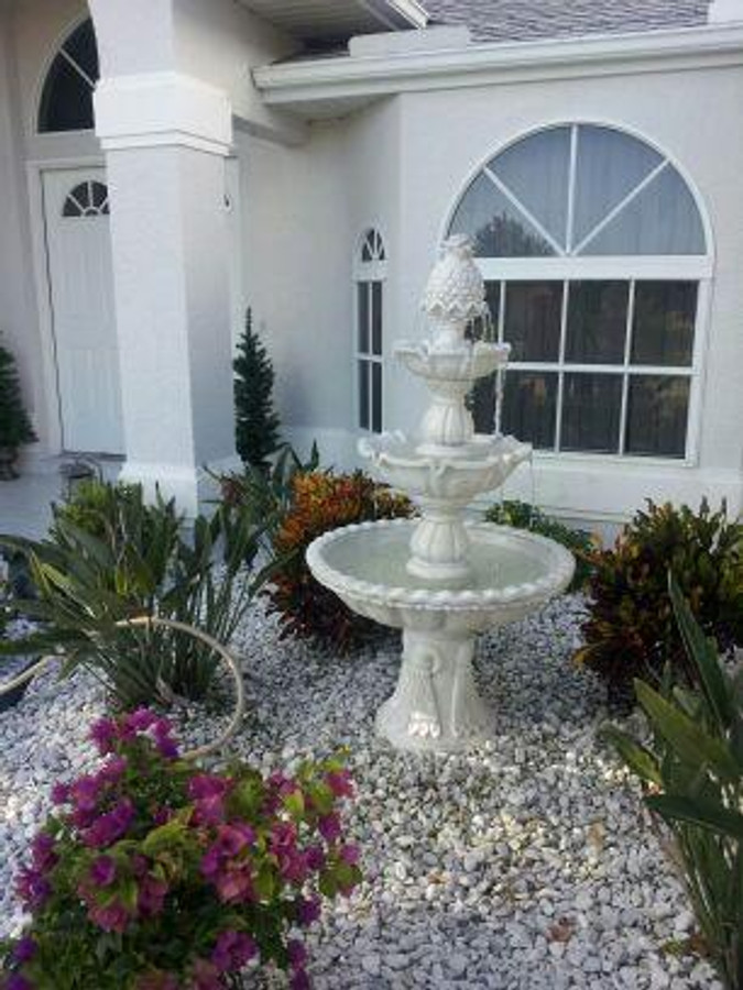 Sunnydaze Welcome 3-Tier Garden Fountain, 59 Inch Tall