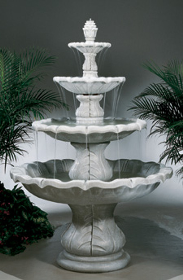 Beautiful 8-Piece Cast Stone Classical Finial Outdoor Fountain by Henri Studio