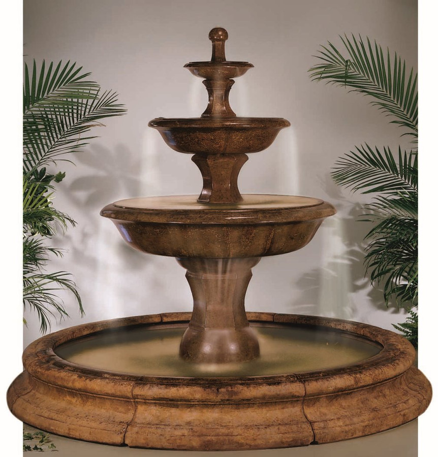 Henri Studio Cast Stone Grande Barrington Fountain In Toscana Pool