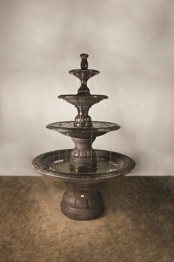 Henri Studio Cast Stone Grande Contemporary Four Tier Fountain