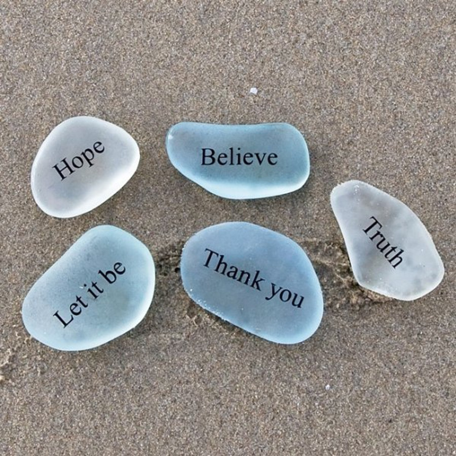 Engraved Sea Glass Stone