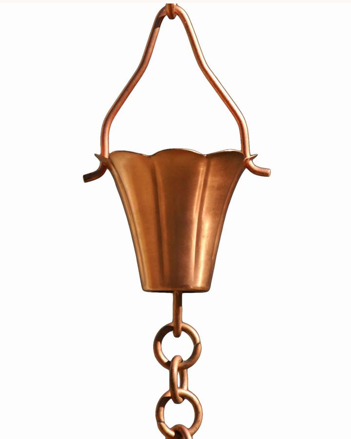 Copper Fluted Cup Rain Chain