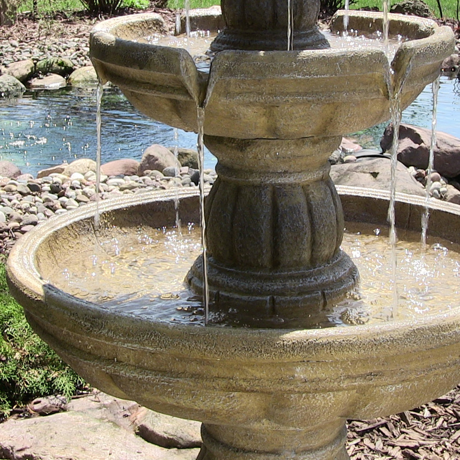 Detail of Tiers of Three-Tier Outdoor Water Fountain