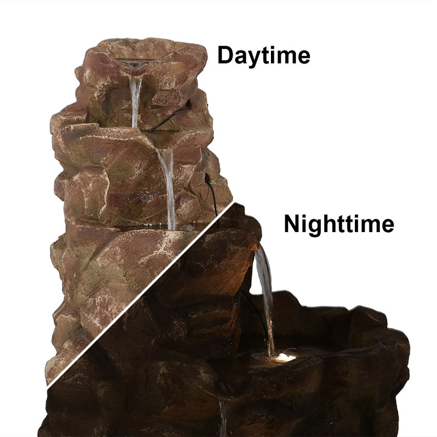 Sunnydaze Lighted Stone Springs Outdoor Water Fountain with LED Lights, 41.5 Inch Tall