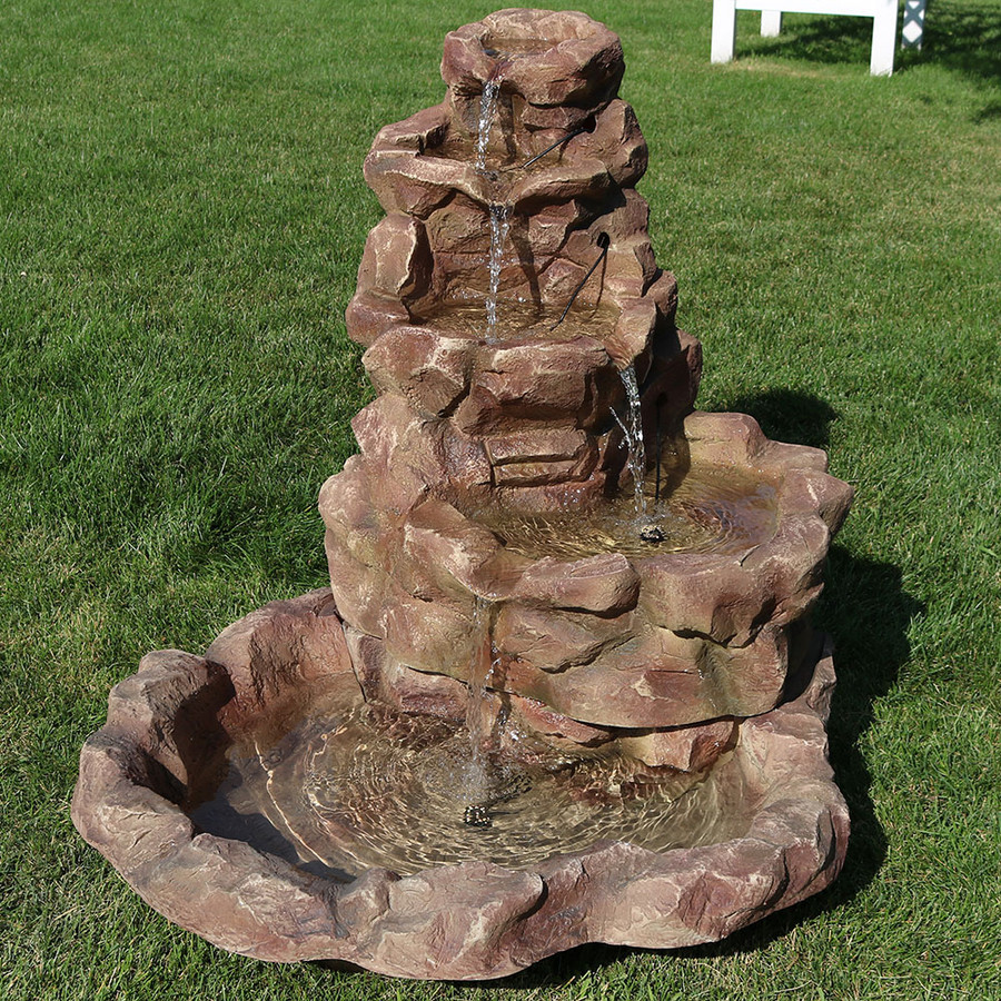 Lighted Stone Springs Outdoor Fountain - Daytime