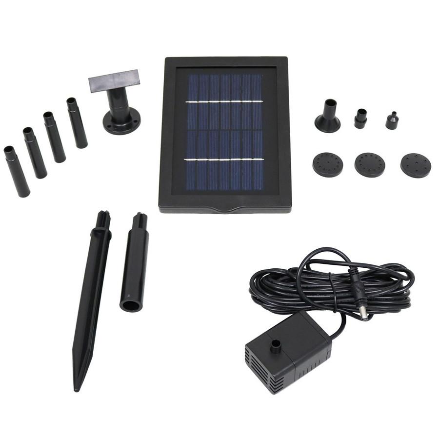 Sunnydaze Solar Pump and Solar Panel Kit With 5 Spray Heads, 40 GPH, 24-Inch Lift