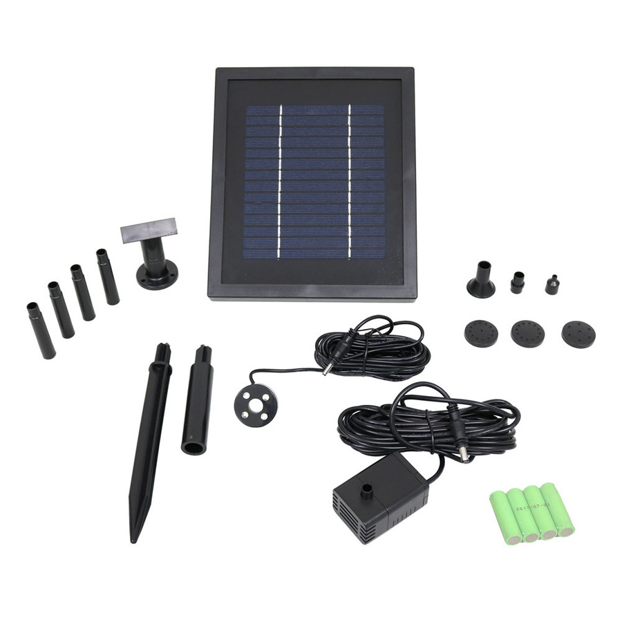 Sunnydaze Solar Pump and Solar Panel Kit With Battery Pack and LED Light, 65 GPH, 47-Inch Lift