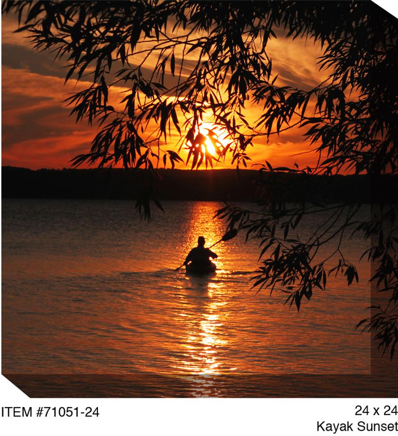 Kayak Sunset Canvas Wall Art