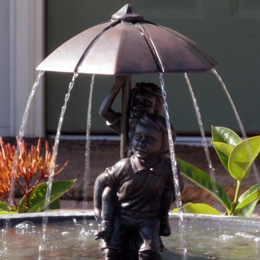 Smart Solar Boy & Girl Piggyback Fountain