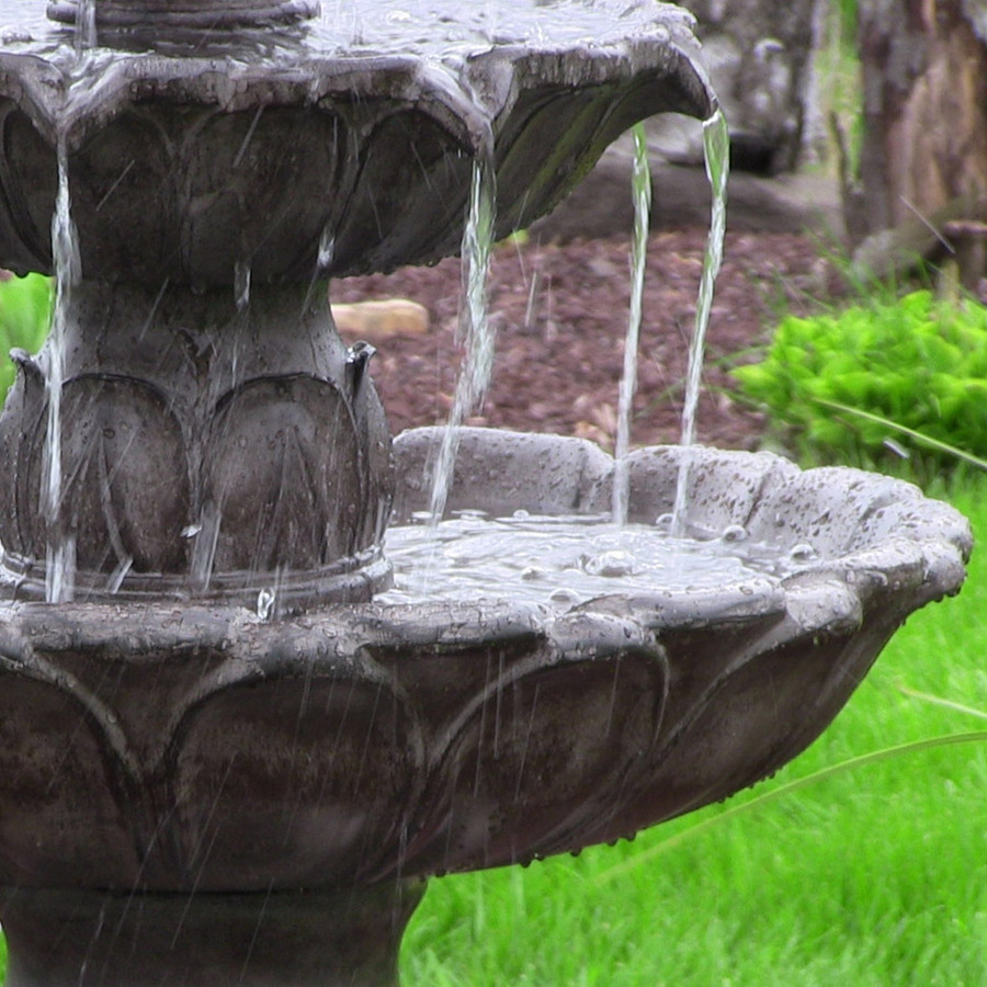 Closeup of Classic Tulip 3 Tiered Outdoor Water Fountain