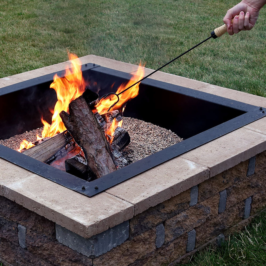 Sunnydaze Fire Pit Poker with Wood Handle, 26 Inch Long
