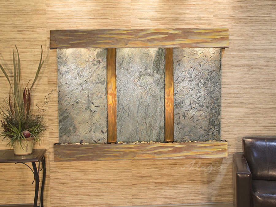 Rustic Copper & Green Slate with Squared Corners