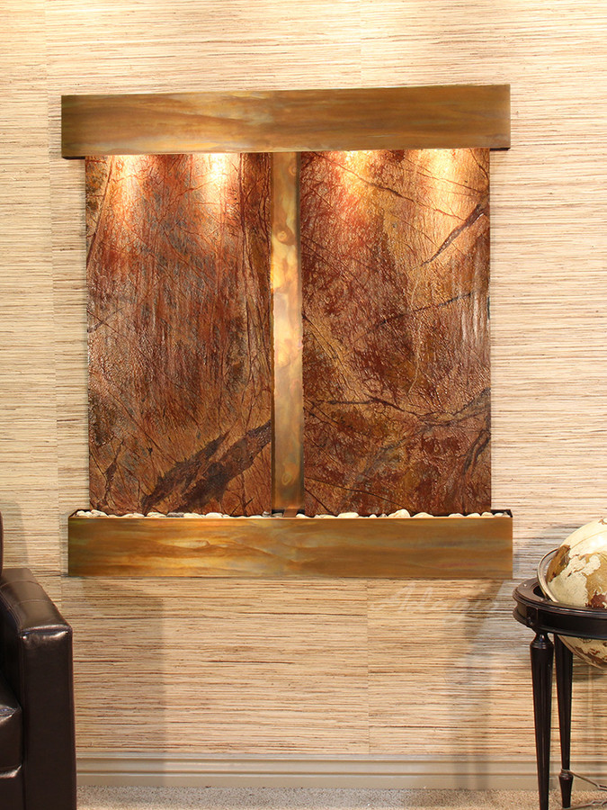 Rustic Copper and Rainforest Brown Marble with Squared Corners