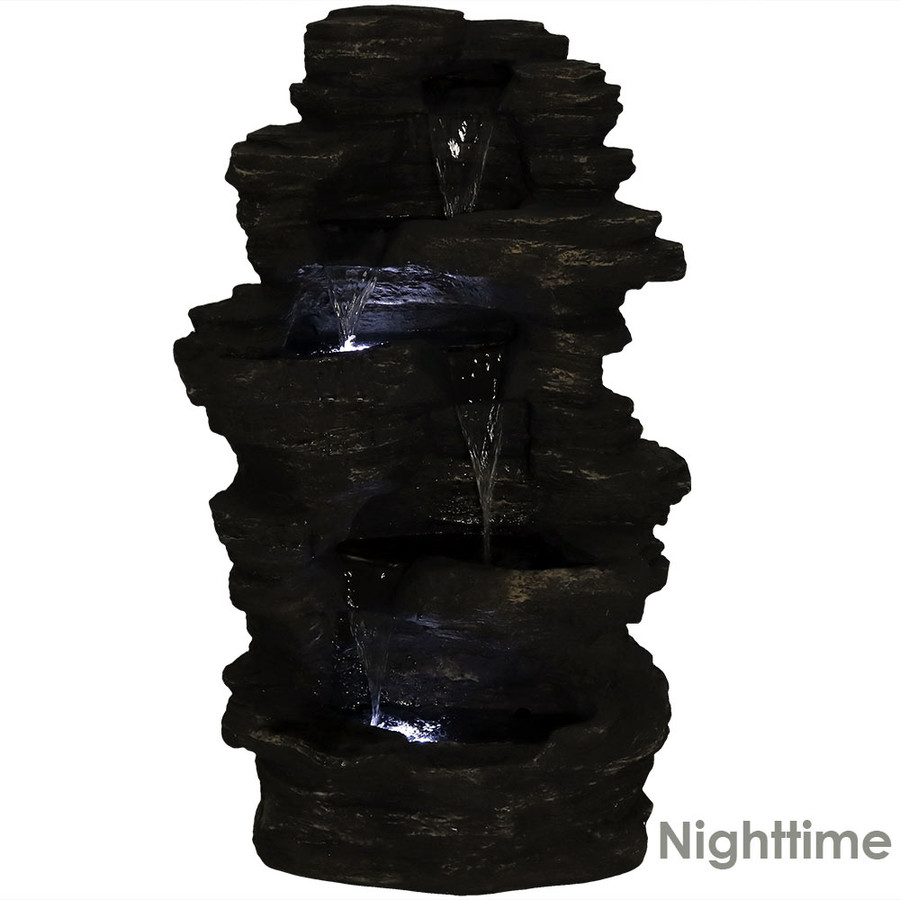 Nighttime View of Rock Falls Electric Waterfall Fountain with LED Lights