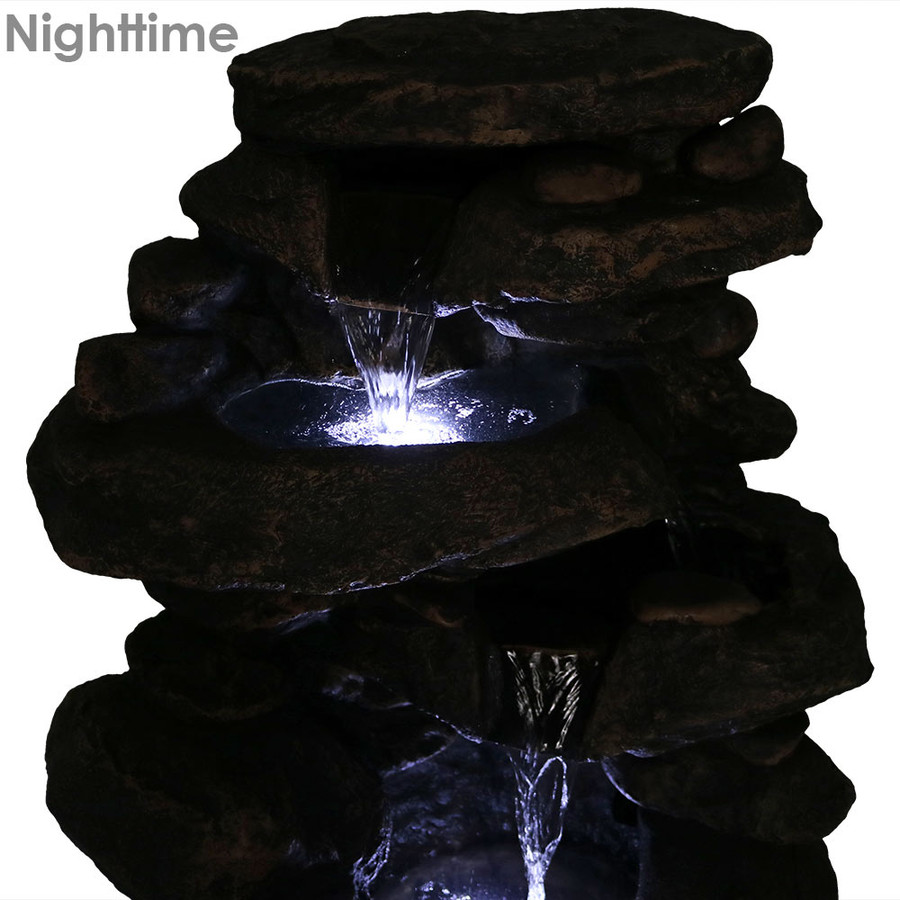 Sunnydaze 27 Inch Rock Falls Fountain with LED Lights