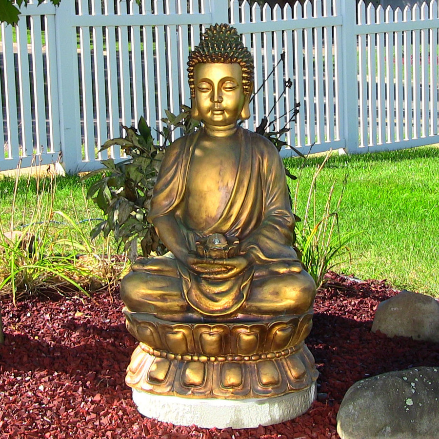 Sunnydaze Relaxed Buddha Fountain with Light