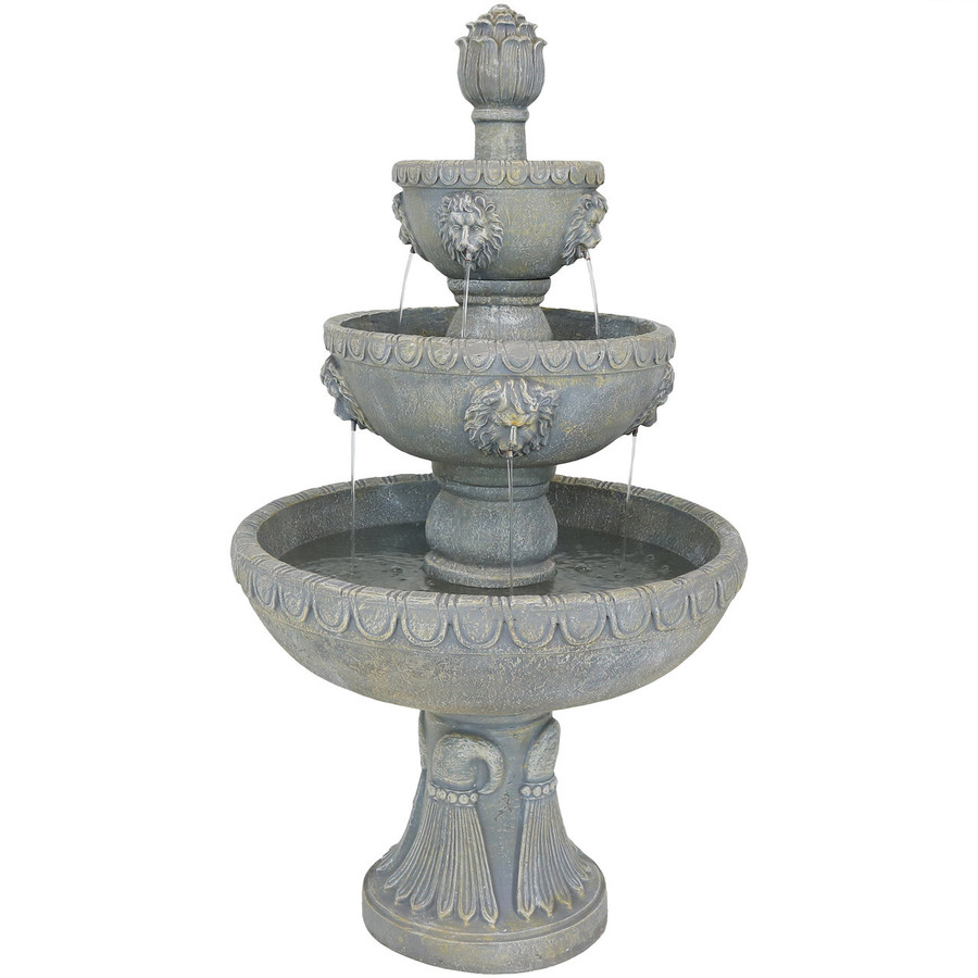 Four Tier Lion Head Outdoor Water Fountain