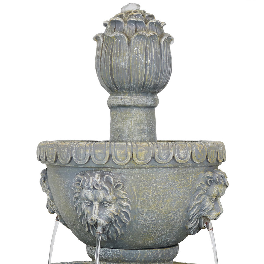 Closeup of Top of Four Tier Lion Head Outdoor Water Fountain