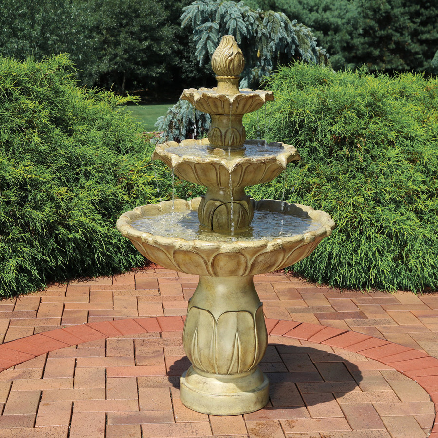 Sunnydaze Classic Tulip 3 Tiered Outdoor Water Fountain, Garden Stone, 46 Inch Tall