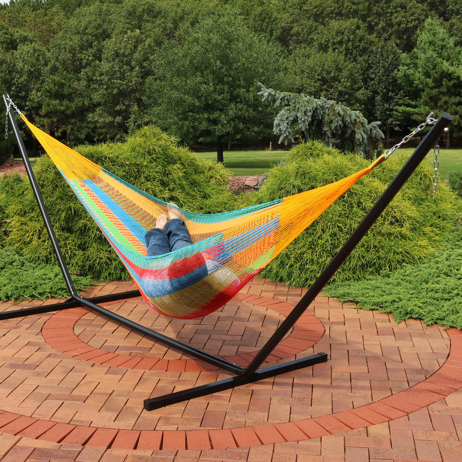 Sunnydaze Hand-Woven 2 Person Mayan Hammock with Stand, Double Size, 400 Pound Capacity