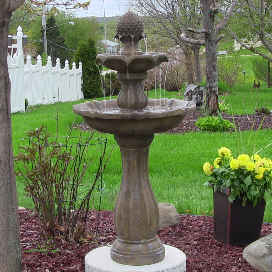 Earth Finish Two-Tier Pineapple Solar-on-Demand Fountain