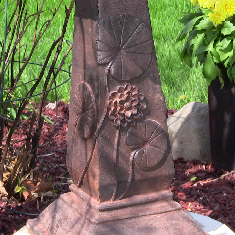 Sunnydaze Decor Design Lily Leaf Two Tier Solar-on-Demand Water Fountain, Rust Finish, 31 Inch Tall