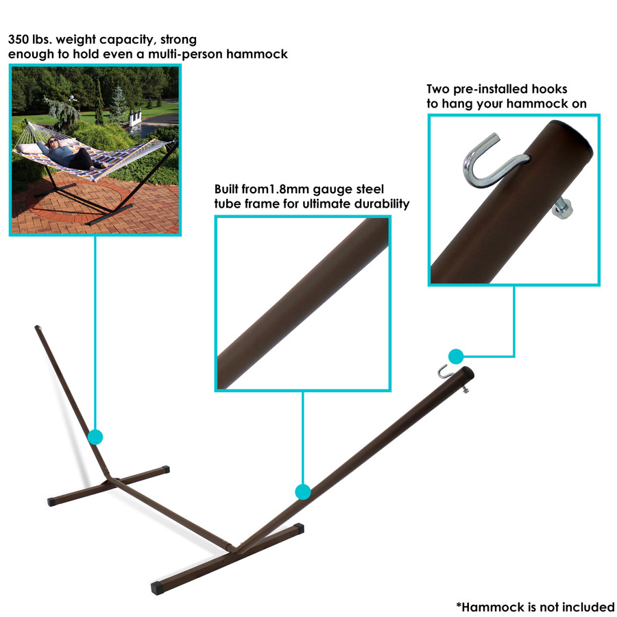 Sunnydaze 12 Foot Hammock Stand with Heavy-Duty Steel Beam Construction, 2 Person, 350 Pound Capacity