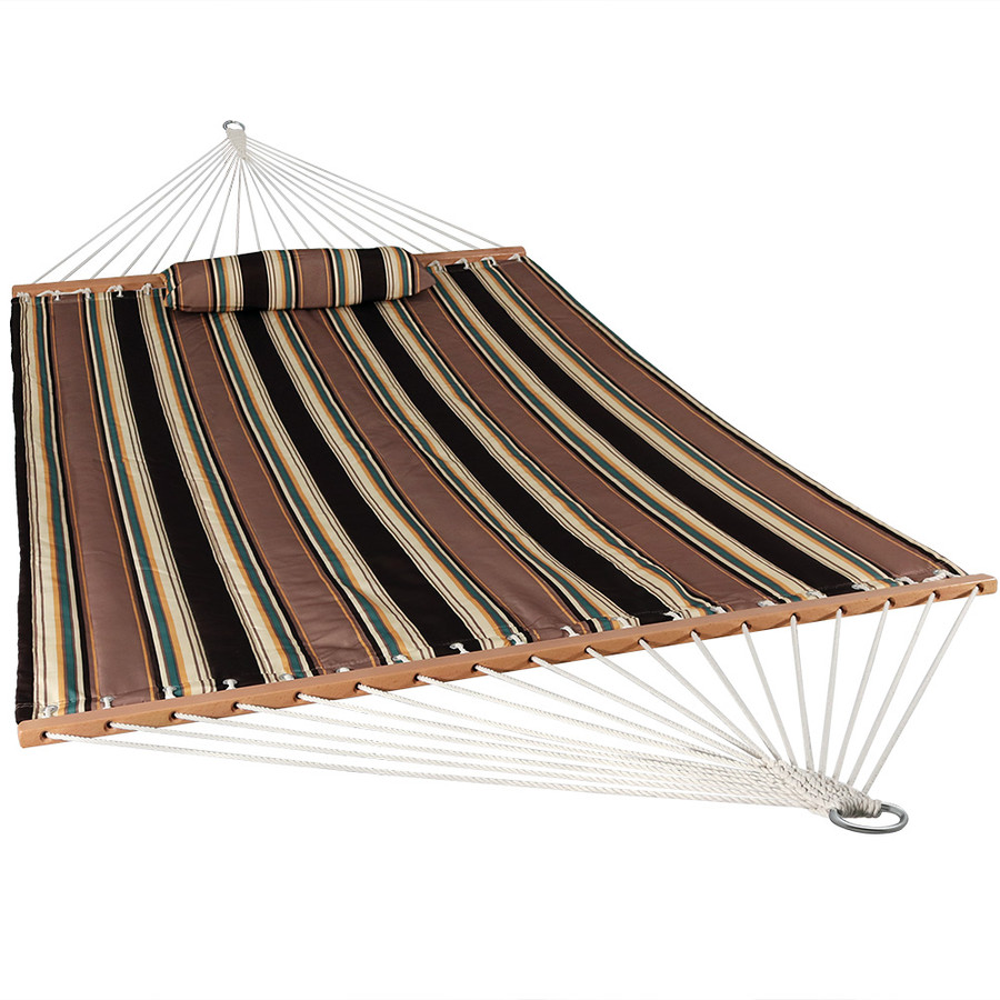 Sunnydaze 2 Person Quilted Fabric Hammock with Spreader Bars and Detachable Pillow, Sandy Beach