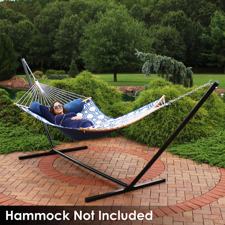 Quilted Spreader Bar Hammock on Black Stand (Hammock Not Included)