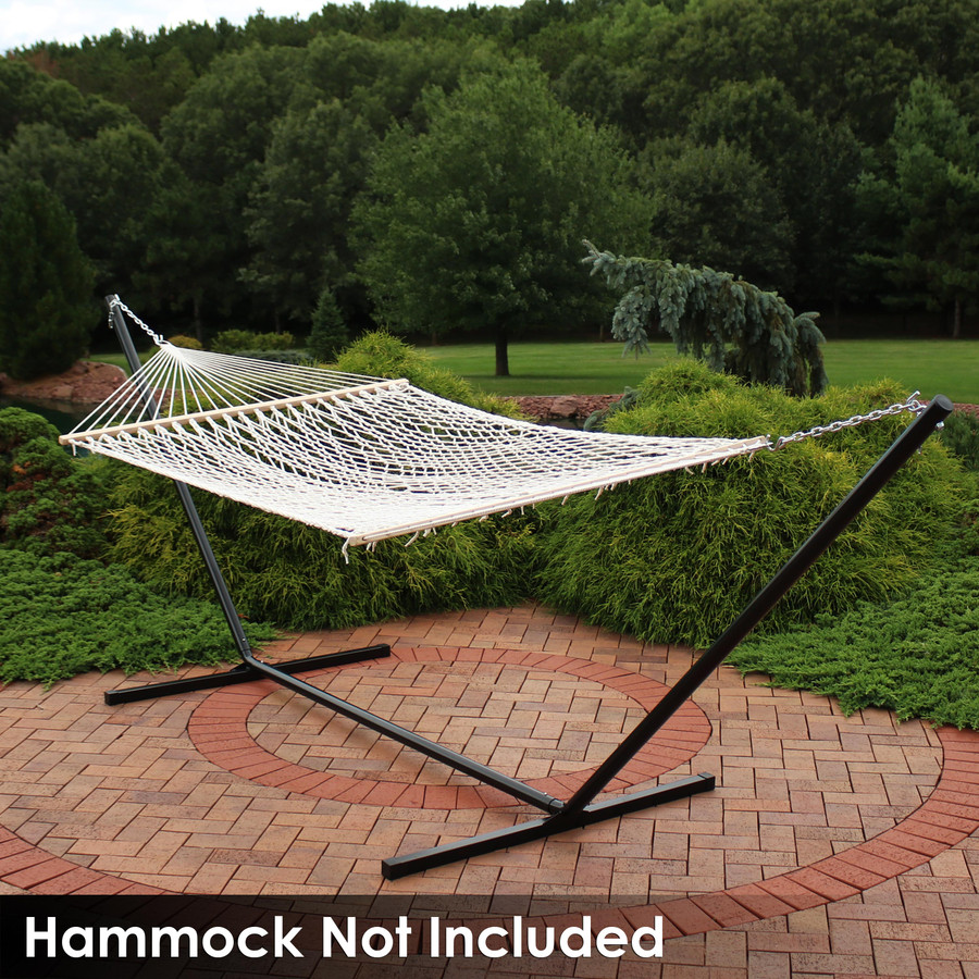 Rope Spreader Bar Hammock on Black Stand (Hammock Not Included)