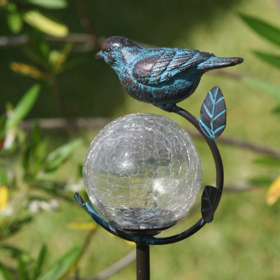 Aquarius Birdbath Stake with Glass Orb Solar Light