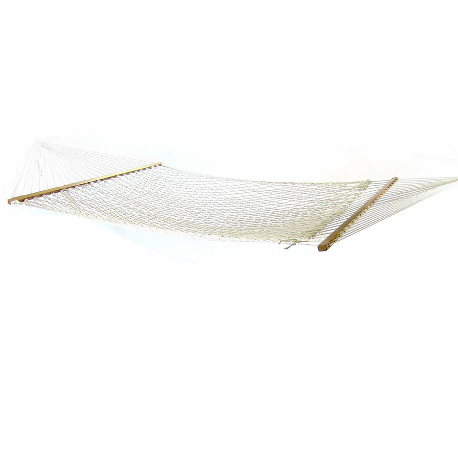 Sunnydaze 2 Person Polyester Rope Hammock with Spreader Bars, Natural, 400 Pound Capacity
