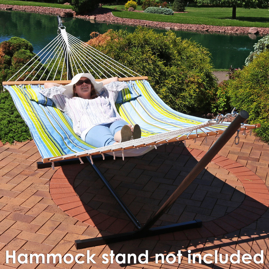 2 Person Quilted Fabric Hammock with Spreader Bars, Blue and Green